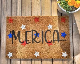 Merica/ America/Welcome mat/Doormat/Custom Doormat/Personalized Doormat/Home Decor/Gift Idea/House Decor/Outdoor Decor/USA/United States