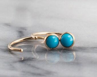 Sleeping Beauty Turquoise Stone Open Hug Hoops, Dainty Earrings, Hugging Hoop Earrings, Gold Handmade Earrings, Tiny Earrings, 4mm