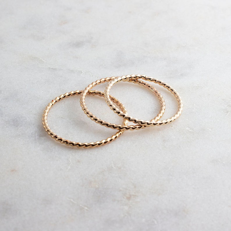 Staking Gold Ring Gold Ring Rope Textured Tiny Gold Ring Hammered Ring Stackable Ring Set of 3 Rings Band Ring Dainty Stacking Ring