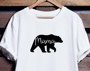 Mama Bear Crew Neck T-Shirt, Mama Bear T-Shirt, Mama Bear Shirt, Mum Bear, Made to Order, Bear Family Shirts