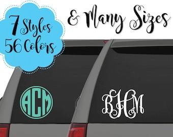 Monogram Car Decals, Vine Monogram Decals, Circle Monogram Decals, Large Monogram Decals, Custom Decals, Car Decal