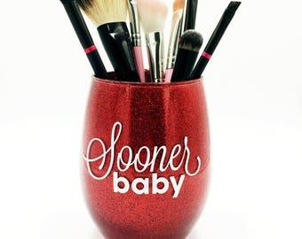 Sooner Baby - Red Glitter Makeup Brush Holder, Glitter Makeup Glass, Glitter Makeup Cup, Makeup Brush Holder