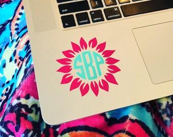 "3"" Sunflower Monogram Laptop Decal, Monogram Decal, Monogrammed Computer Decal, Custom Decals"