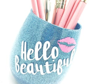 Hello Beautiful - Blue Glitter Makeup Brush Holder, Glitter Makeup Glass, Glitter Makeup Cup, Flawless Makeup Brush Holder