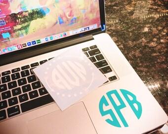 "3"" Round Monogram Laptop Decal, Monogram Decal, Monogrammed Tumbler Decal, Monogrammed Computer Decal, Monogrammed Car Decal, Custom Decals"
