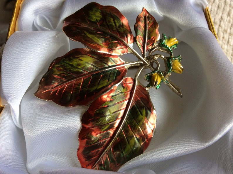 Beech Leaf and Nuts Vintage Signed Exquisite 1960s Beautiful Large Enamel Leaf Brooch
