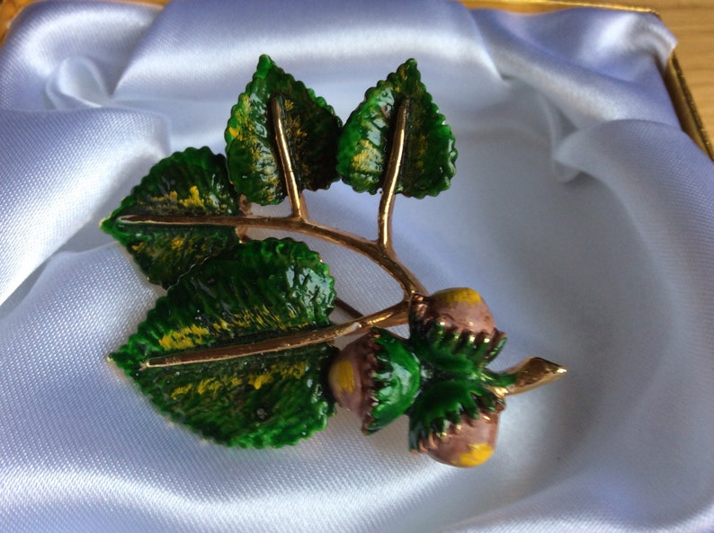 Tree Series Hazelnut Design Autumn Birthday Stunning 1960s Brooch by Exquisite