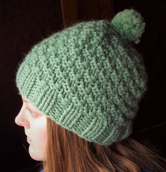 Large Adult Double Seed Stitch Knit Hat Green Ivy handknit  04c9c7a4186