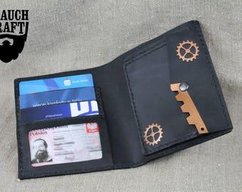 Steampunk leather bifold wallet customized steam gears