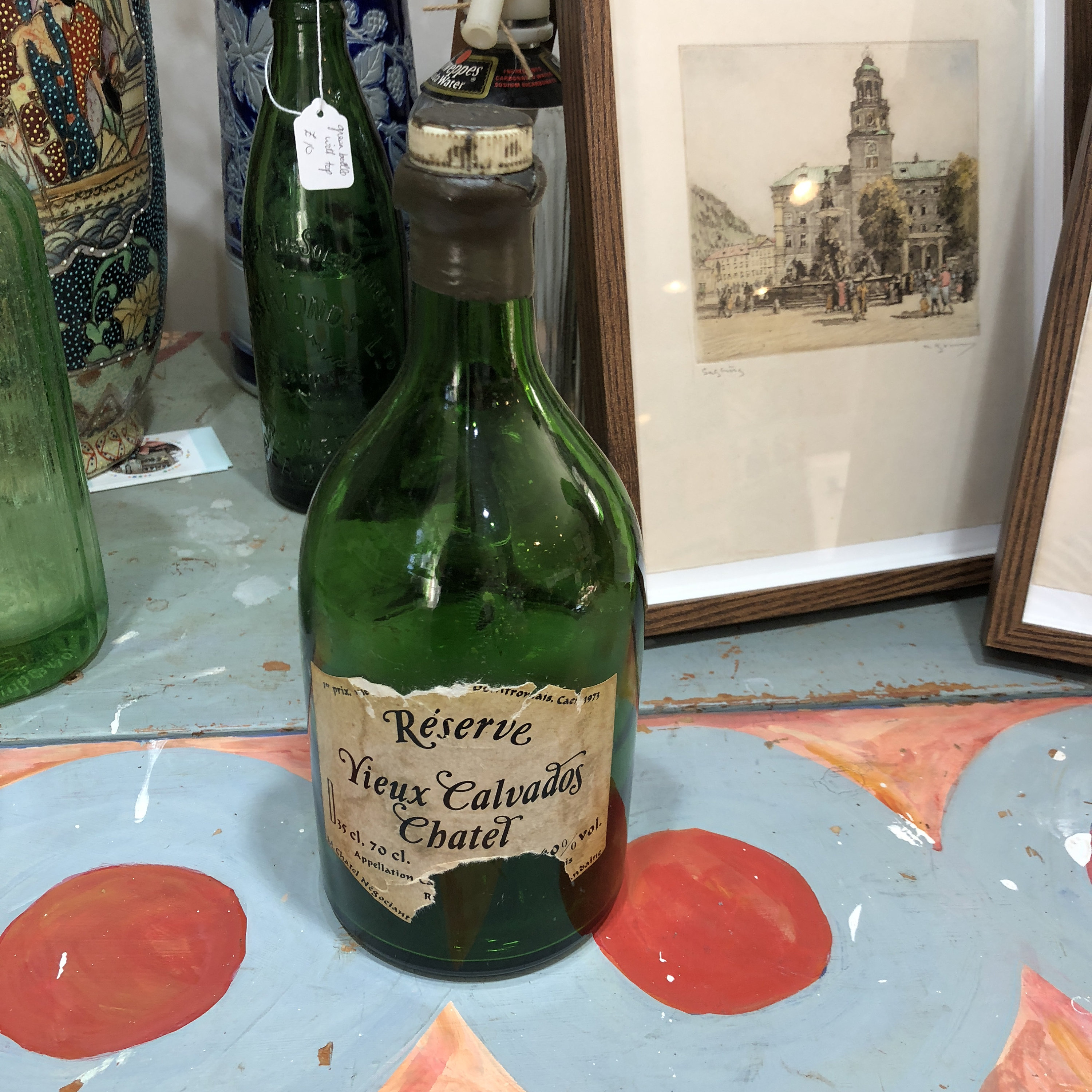 utterly stylish new list high quality Calvados vintage green bottle