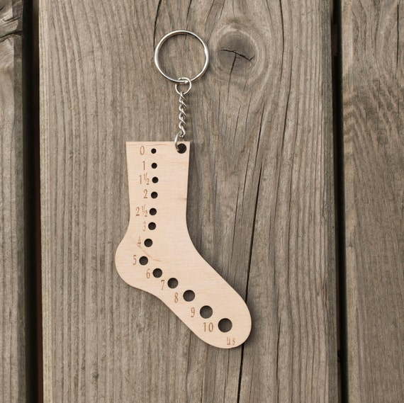 Wooden keychain Sock knitting gift Needle gauge