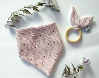 Bandana bib and matching teething ring (to order)