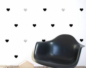 Stickers wall hearts black, gold, silver x 36 (flexible colors)