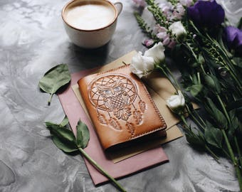 Unique cover for the passport, handmade embossing (carved) owl and dreamcatcher