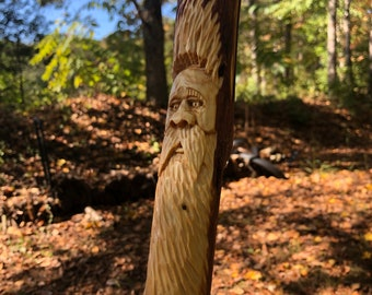 Carved Hiking Staff, Walking Stick for SCA, Vikings Staff with Toggle