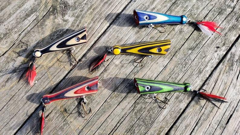 Handmade Topwater Fishing Lure Bass Popper  Wooden Fishing image 0