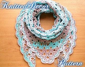 Crochet Shawl Pattern Crochet Triangle Shawl Pattern Lace Etsy