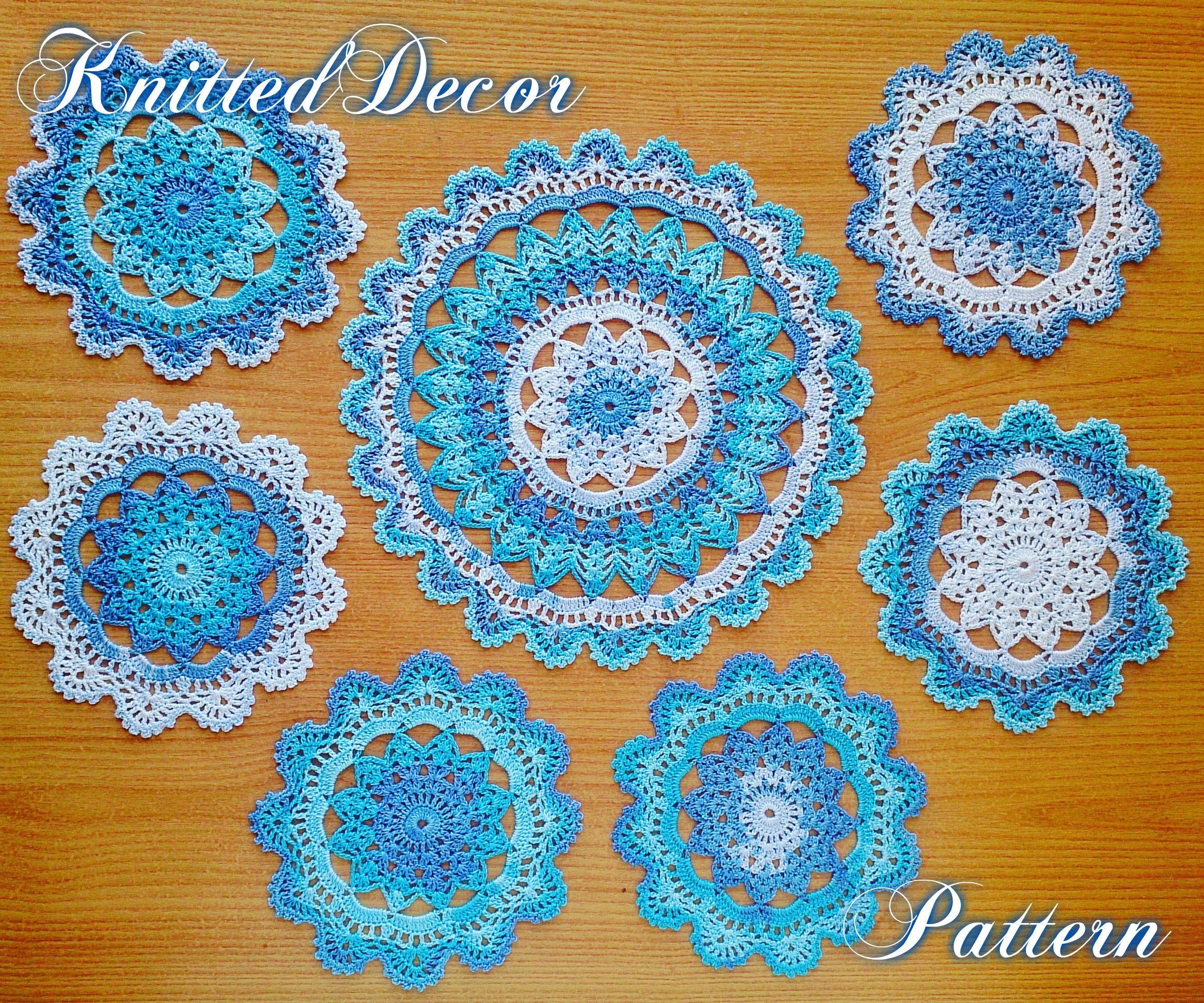 Crochet Doily Pattern Crochet Doily Set Pattern Crochet Etsy