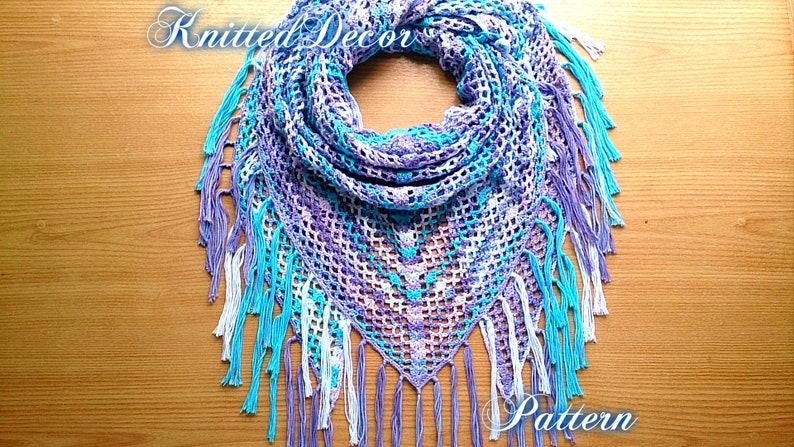 Lace Crochet Shawl Pattern Crochet Triangle Scarf Pattern Boho Etsy