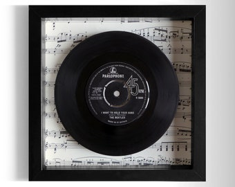 """The Beatles """"I Want To Hold Your Hand"""" Framed 7"""" Vinyl Record"""