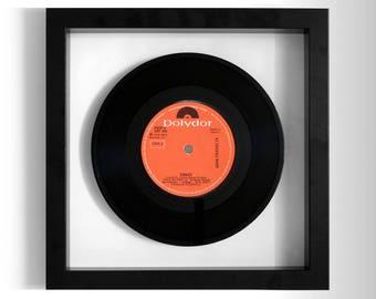 """John Travolta """"Sandy"""" Framed 7"""" Vinyl Record"""