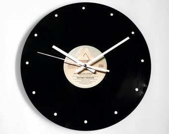 "Whitney Houston ""Saving All My Love For You"" Vinyl Record Wall Clock"
