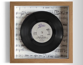 """Michael Jackson """"I Just Can't Stop Loving You"""" Framed 7"""" Vinyl Record"""