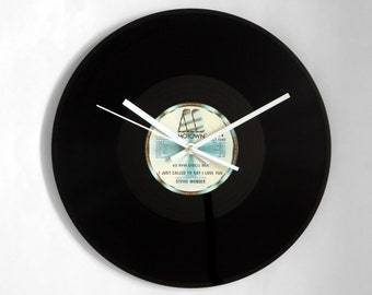 """Stevie Wonder """"I Just Called To Say I Love You"""" Vinyl Record Wall Clock"""