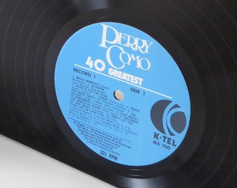 """Perry Como """"40 Greatest"""" Large Vinyl Record Bookends"""