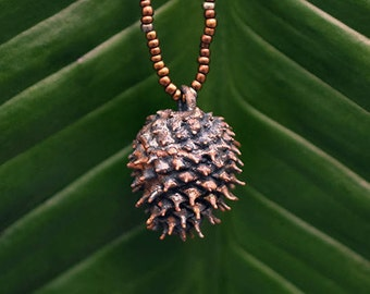 Pine Cone Pendant | Electroformed | Copper-plated | One of a Kind
