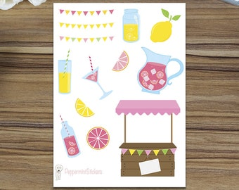Summer Lemonade Decorative Stickers! [13 x Matte] Perfect for your planner or scrapbook!