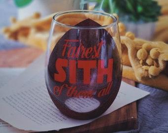Fairest Sith of them all, Dark Side, Star Wars, Glittered wine glass, Jedi