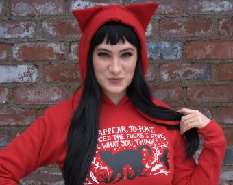 Nevernight, Cat ear hoodie, Cat Hoodie for Women, Jay Kristoff,  darkdawn, book lover gift, cat sweater, Cat hoodie with ears, Kitty