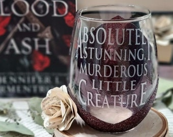 Absolutely Stunning Murderous Creature, Glittered Wine Glass, From Blood and Ash,  Jennifer L Armentrout, Bookish, Bookstagram, reader
