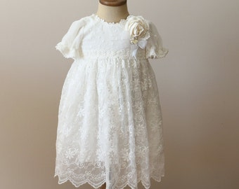 Shabby Chic Floral Lace Christening Dress, Girls Baptism Gown, Polka Dot Christening Dress, Baby Dress, Baptism Dress, Lace Baptism Dress