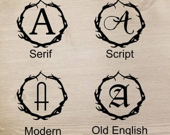 Antler Monogram Decal, Antler Monogram, Antler Cup Decal, Antler Initial Decal, Antler Mug Decal, Antler Decor, Antler Wedding, Sticker