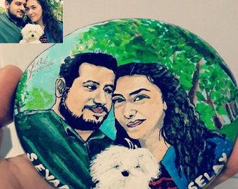 Custom Portrait Rockpainting of couple, personalized portrait, wedding gift,