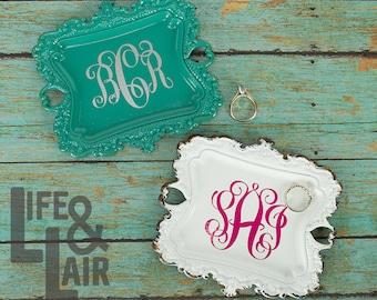 Trinket Dish - Monogram Ring Dish - Jewelry Tray - Wedding Ring Holder - Bridal Shower Gift - Bridesmaid Gift - Engagement Gift for Her