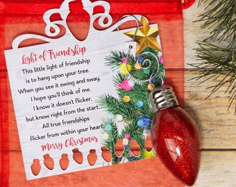 Light of friendship ornament, glitter ornament and poem. Christmas gift for friends