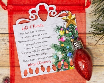 Light of friends ornament, glitter ornament and poem. Christmas gift for friends