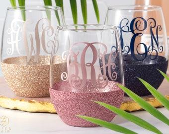 Monogram Wine Glass - Stemless Wine Glass - Glitter Wine Glass - Custom Wine Glass - Wine Gift - 21st Birthday Gift - Bridesmaid Gift