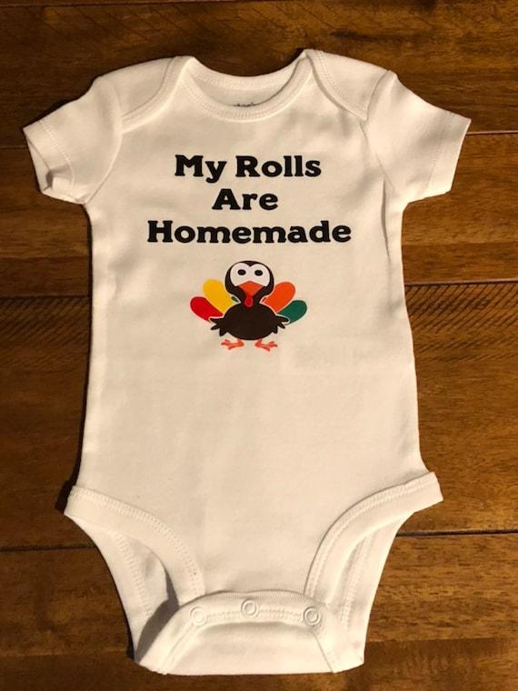 Fall Onesie Cute Onesie Thanksgiving Onesie Funny Onesie Homemade Rolls Baby Onesie
