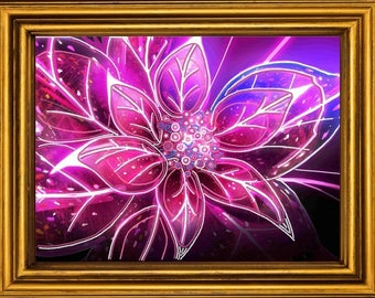 Bright Flowers DIY Bead Embroidery Picture Canvas Housewarming Gift Idea Wall Artwork Beadwork