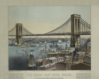 24x36 Vintage Map New York Great East River Suspension Bridge 1885