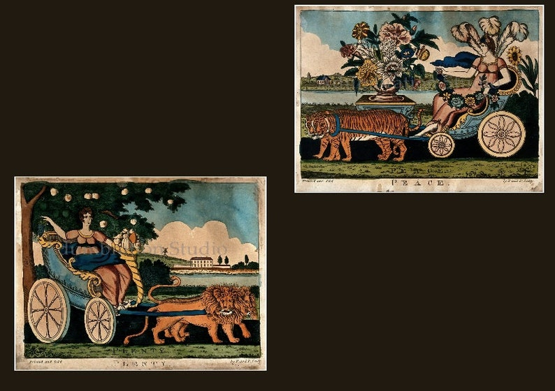 and P Gally Early American Folk Art Pair of Prints or Just One Archival Print P Currier /& Ives Primitive Americana Peace and Plenty