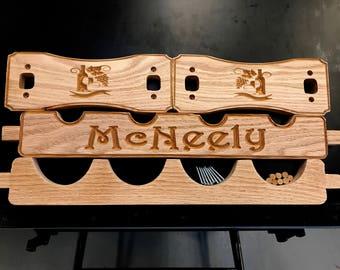 DIY 1-Tier Personalized Carved Red Oak Wine Rack Kit