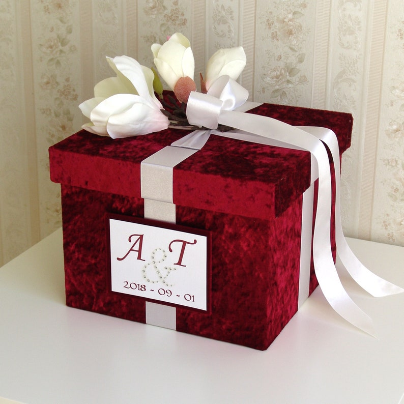 Red Wedding Card Box Wedding Money Box Wedding Keepsake Box With Magnolia