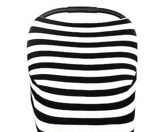 3-in-1 Stretchy Baby Nursing Cover, Car Seat Canopy, and Shopping Cart Cover (Black and White Stripe or Cross)