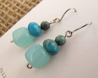 Earrings - Icy Blue Glass Petite Beaded Dangles