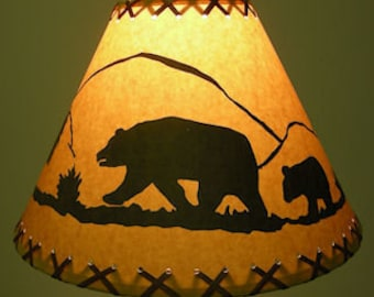 Rustic lamp shade etsy bear lamp shade for your rustic log home cabin or country decor aloadofball